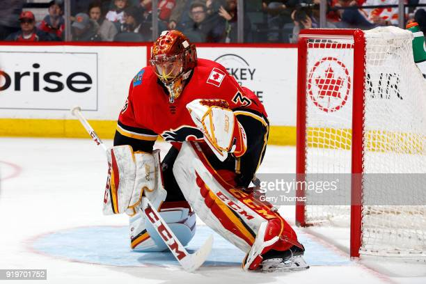 David Rittich of the Calgary Flames skates against the Florida Panthers during an NHL game on February 17 2018 at the Scotiabank Saddledome in...