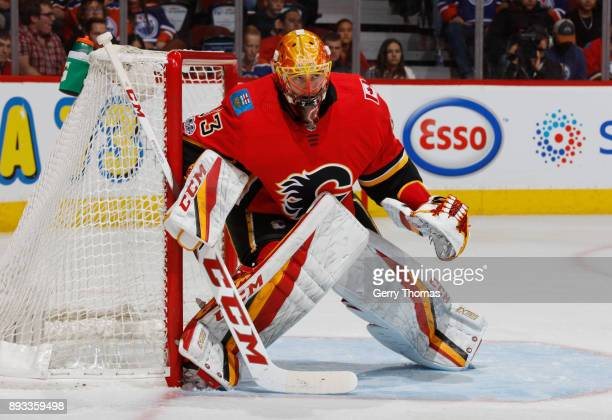 David Rittich of the Calgary Flames stays focused in net against the Edmonton Oilers at Scotiabank Saddledome on December 2 2017 in Calgary Alberta...