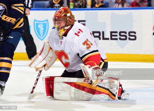 David Rittich of the Calgary Flames tends goal during an NHL game against the Buffalo Sabres on March 7 2018 at KeyBank Center in Buffalo New York