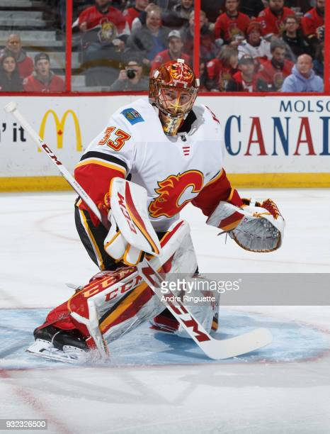 David Rittich of the Calgary Flames tends net against the Ottawa Senators at Canadian Tire Centre on March 9 2018 in Ottawa Ontario Canada