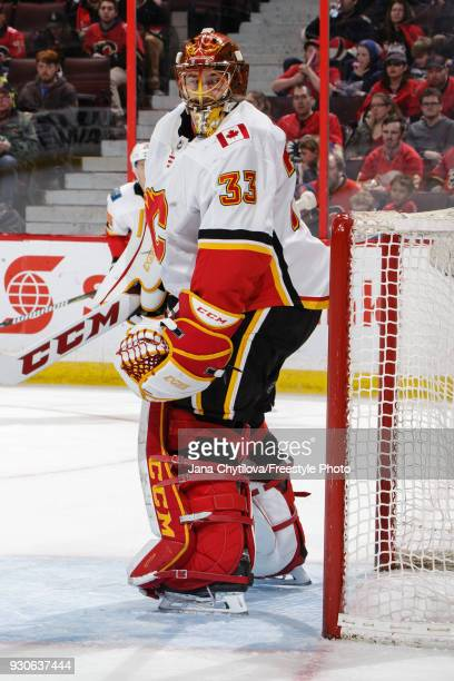 David Rittich of the Calgary Flames tracks the play during a game against the Ottawa Senators at Canadian Tire Centre on March 9 2018 in Ottawa...