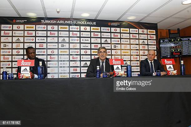 David Rivers Jordi Bertomeu and Alberto Herreros during the press conference before the game during the 2016/2017 Turkish Airlines EuroLeague Regular...