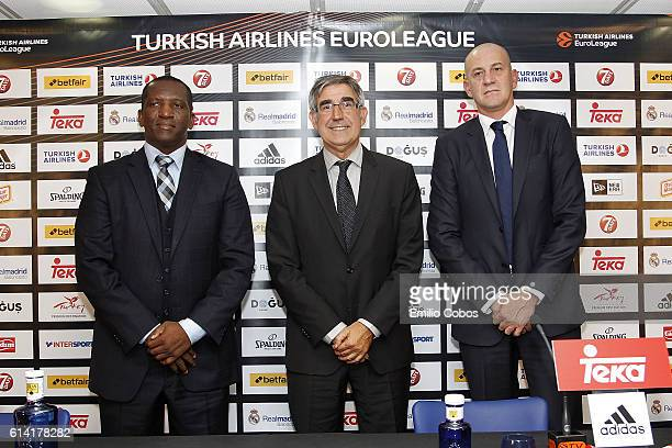 David Rivers Jordi Bertomeu and Alberto Herreros during the press conference before the game of the 2016/2017 Turkish Airlines EuroLeague Regular...