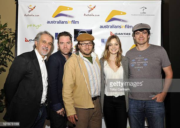 David Roach Brendan Cowell Jeremy Sims Bella Heathcoate and Gerald Lepkowski pose for a picture at the Australians In Film screening of Beneath Hill...