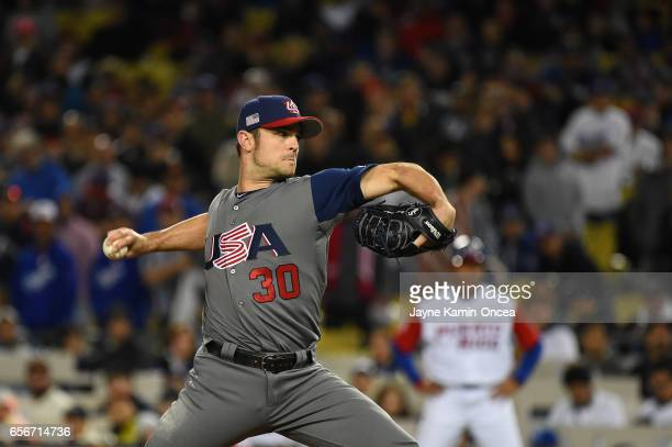 David Robertson of team United States pitches against team Puerto Rico in the ninth inning during Game 3 of the Championship Round of the 2017 World...