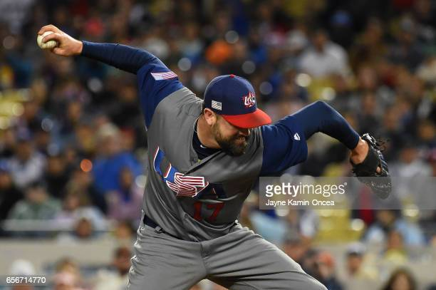 David Robertson of team United States pitches against team Puerto Rico in the eighth inning during Game 3 of the Championship Round of the 2017 World...