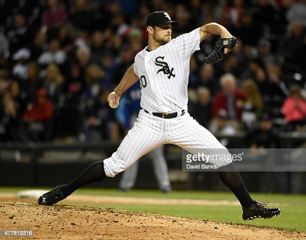 David Robertson of the Chicago White Sox pitches against the Chicago White Sox during the ninth inning on June 19 2015 at U S Cellular Field in...