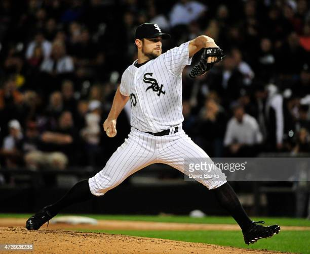 David Robertson of the Chicago White Sox pitches against the Cleveland Indians during the ninth inning on May 18 2015 at U S Cellular Field in...