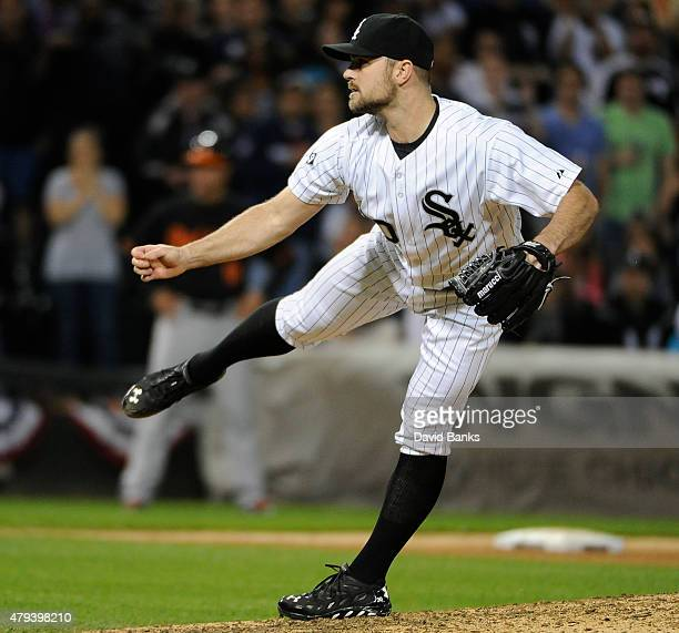 David Robertson of the Chicago White Sox pitches against the Baltimore Orioles during the ninth inning on July 3 2015 at U S Cellular Field in...