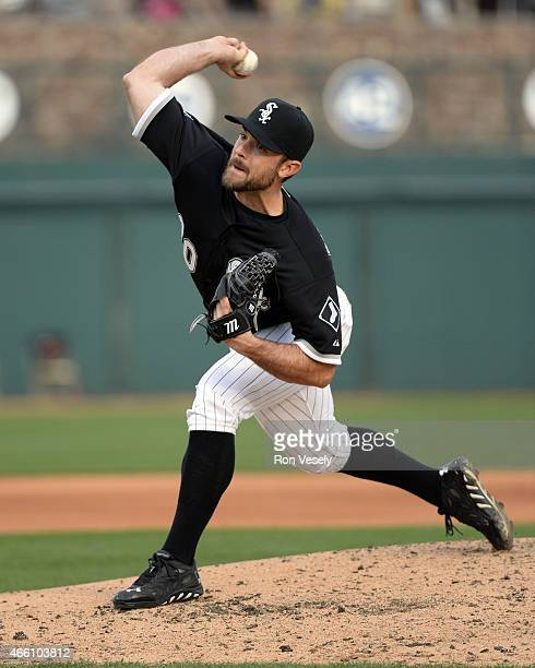 David Robertson of the Chicago White Sox pitches during the spring training game between the San Francisco Giants and Chicago White Sox on March 12...