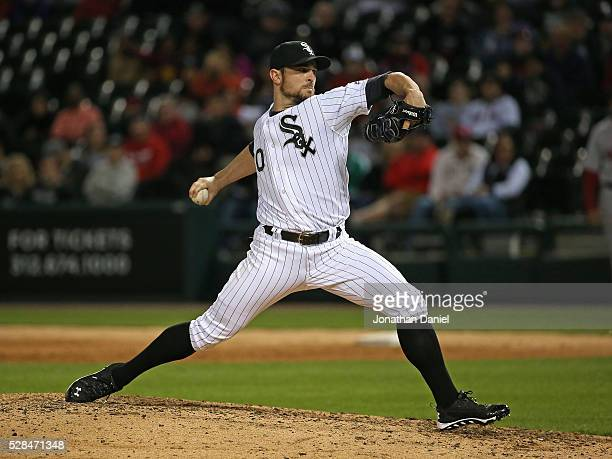 David Robertson of the Chicago White Sox pitches for a save in the 9th inning against the Boston Red Sox at US Cellular Field on May 3 2016 in...