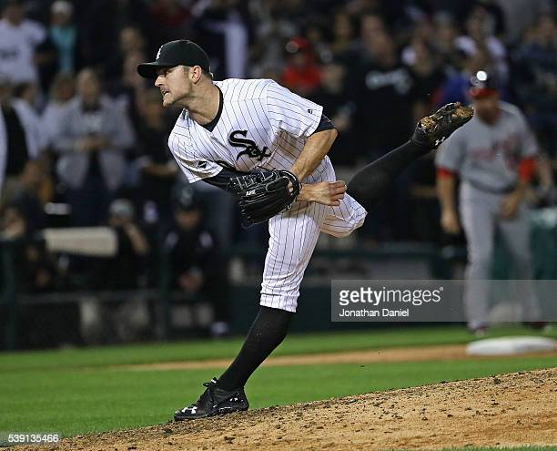 David Robertson of the Chicago White Sox pitches for a save in the 9th inning against the Washington Nationals at US Cellular Field on June 9 2016 in...