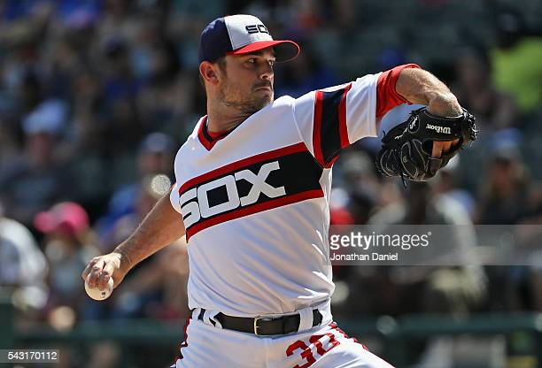 David Robertson of the Chicago White Sox pitches in the 9th inning for a save against the Toronto Blue Jays at US Cellular Field on June 26 2016 in...