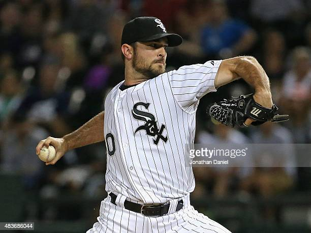 David Robertson of the Chicago White Sox pitches in the 9th inning against the Los Angeles Angels at US Cellular Field on August 11 2015 in Chicago...