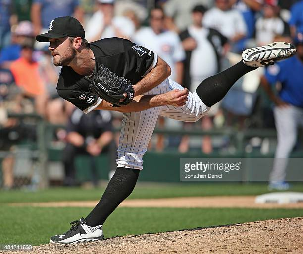 David Robertson of the Chicago White Sox pitches in the 9th inning against the Chicago Cubs at US Cellular Field on August 16 2015 in Chicago...