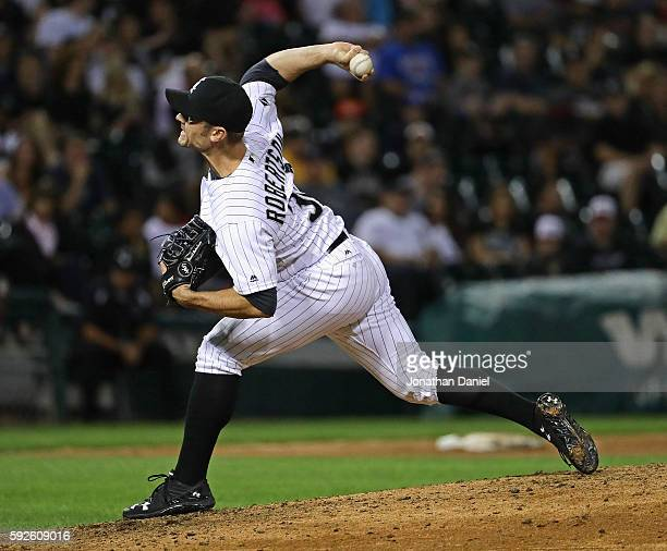 David Robertson of the Chicago White Sox pitches in the 9th inning against the Oakland Athletics at US Cellular Field on August 20 2016 in Chicago...