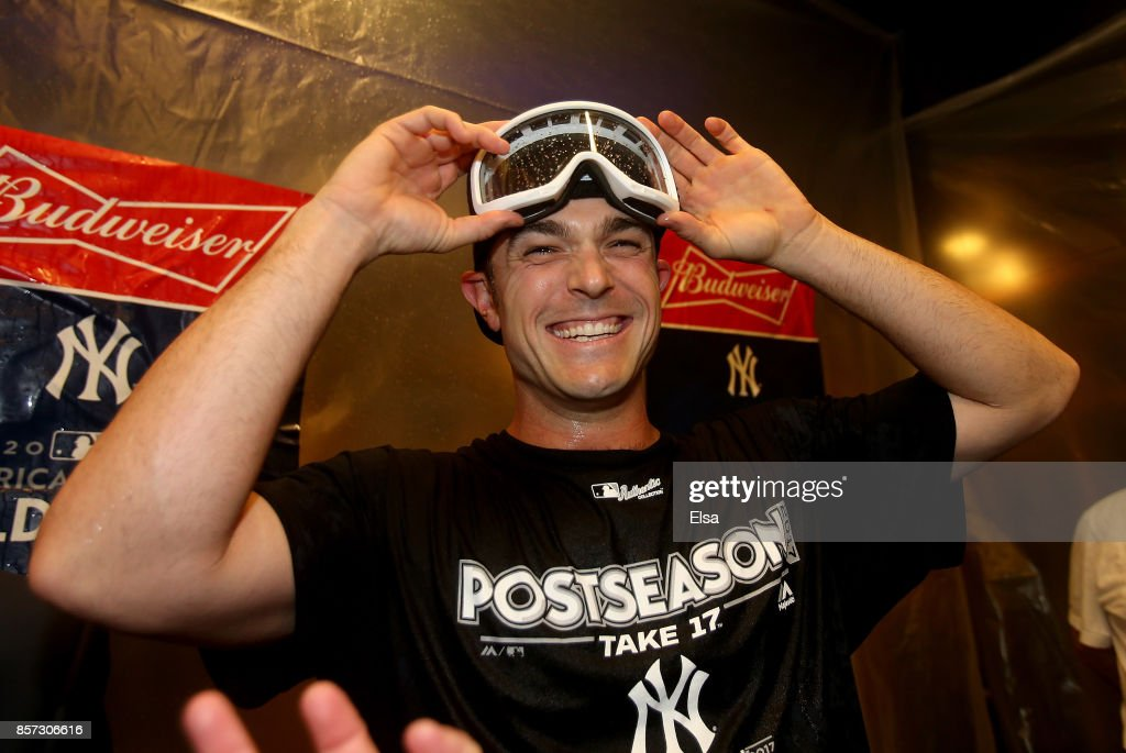 David Robertson #30 of the New York Yankees celebrates the win over the Minnesota Twins during the American League Wild Card Game at Yankee Stadium on October 3, 2017 in the Bronx borough of New York City.
