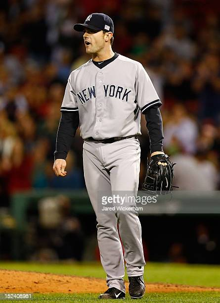 David Robertson of the New York Yankees pitches against the Boston Red Sox during the game on September 11 2012 at Fenway Park in Boston Massachusetts