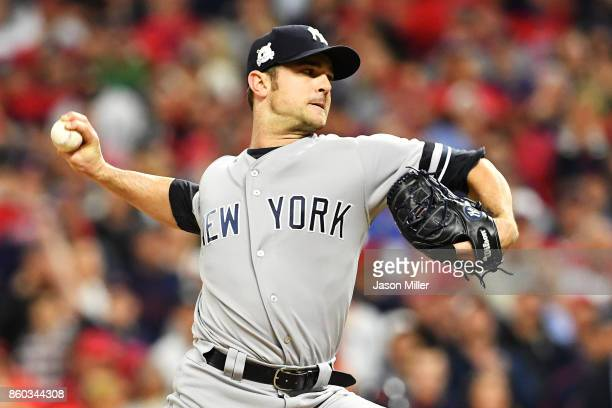 David Robertson of the New York Yankees pitches against the Cleveland Indians in Game Five of the American League Divisional Series at Progressive...