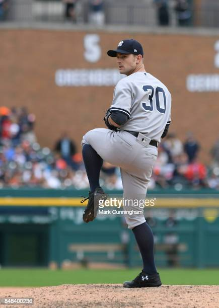 David Robertson of the New York Yankees pitches during the game against the Detroit Tigers at Comerica Park on August 24 2017 in Detroit Michigan The...