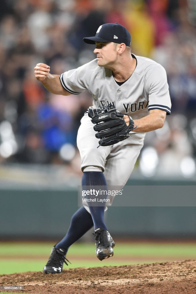 David Robertson #30 of the New York Yankees pitches in the ninth inning pitches during a baseball game against the Baltimore Orioles at Oriole Park at Camden Yards on June 2, 2018 in Baltimore, Maryland.
