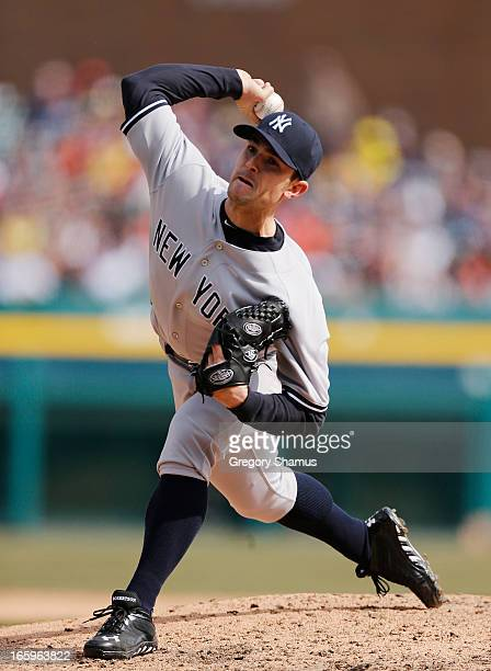 David Robertson of the New York Yankees throws an eighth inning pitch while playing the Detroit Tigers at Comerica Park on April 7 2013 in Detroit...