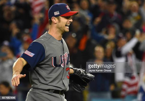 David Robertson of the United States reacts after the final out of the 2017 World Baseball Classic defeating Puerto Rico at Dodger Stadium on March...