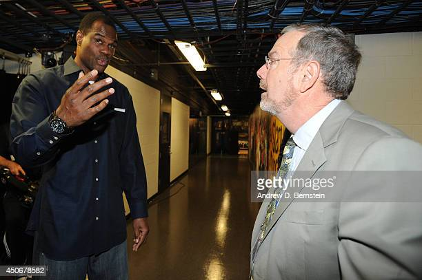 David Robinson and P J Carlesimo converse before Game Five of the 2014 NBA Finals between the Miami Heat and San Antonio Spurs at ATT Center on June...