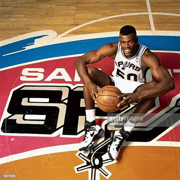 David Robinson of the San Antonio Spurs poses for a portrait at the Alamodome during the 1996 season in San Antonio Texas NOTE TO USER User expressly...