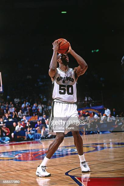 David Robinson of the San Antonio Spurs shoots against Vasco da Gama as part of the 1999 McDonald's Championships on October 16 1999 at the Fila...