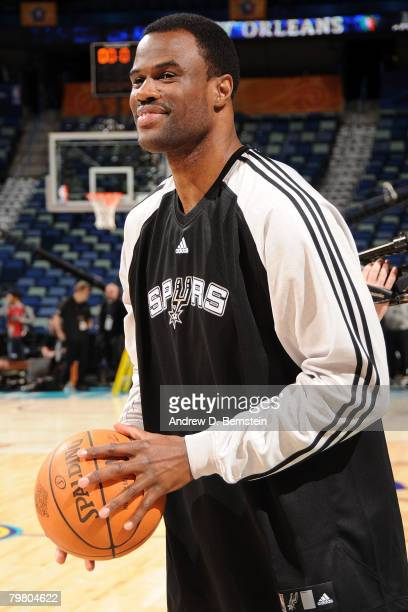 David Robinson of the San Antonio Spurs warmsup prior to the start of Haier Shooting Stars part of 2008 NBA AllStar Weekend at the New Orleans Arena...