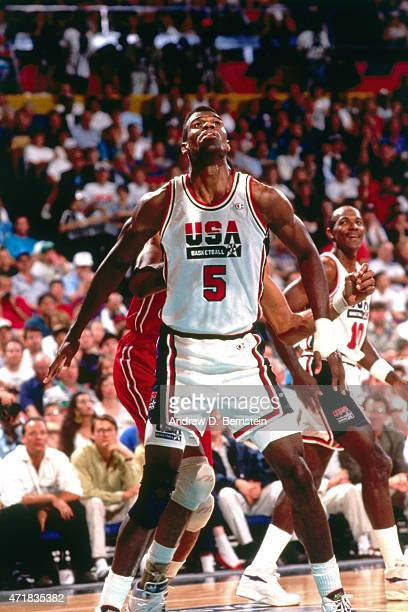 David Robinson of the United States guards his position against Venezuela circa 1992 in the 1992 Summer Olympics at Palau Municipal d'Esports de...