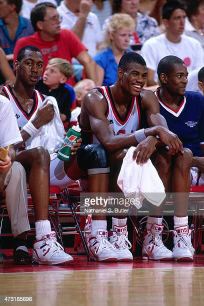 David Robinson of the US Mens Olympic Basketball Team sits on the sideline circa 1992 during the 1992 Summer Olympics at Pavelló Olímpic de Badalona...
