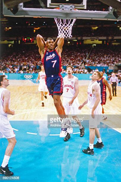 David Robinson of the USA Basketball Men's National Team dunks the ball during a game against Croatia at the Georgia Dome in 1996 in Atlanta Georgia...