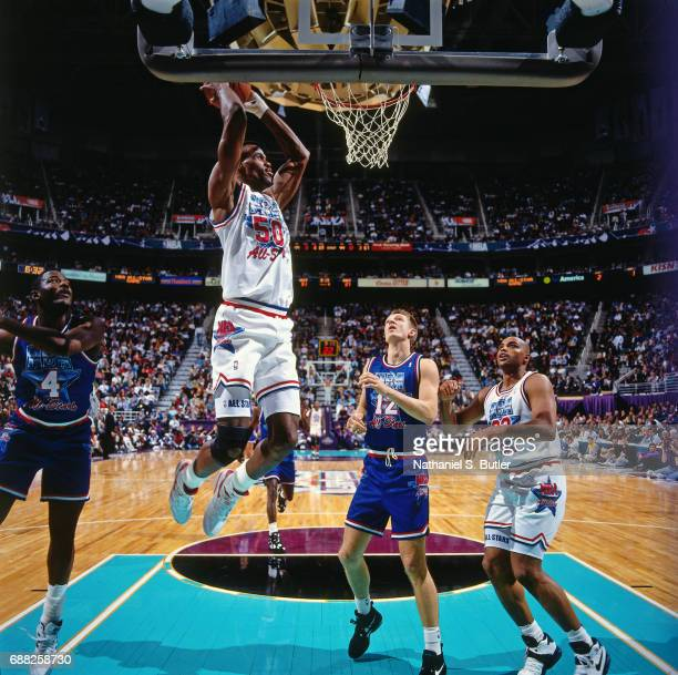 David Robinson of the Western Conference AllStars dunks during the 1993 NBA AllStar Game on February 21 1993 at the Delta Center in Salt Lake City...