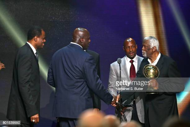 David Robinson Shaquille O'Neal Kareem Abdul Jabbarand Alonzo Mourning presents the Lifetime Achievement Award to Bill Russell at the NBA Awards Show...