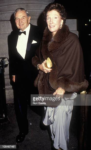 David Rockefeller and wife Margaret McGrath attend Dinner Gala Honoring Gianni Agnelli on October 29 1991 at the Metropolitan Museum of Art in New...