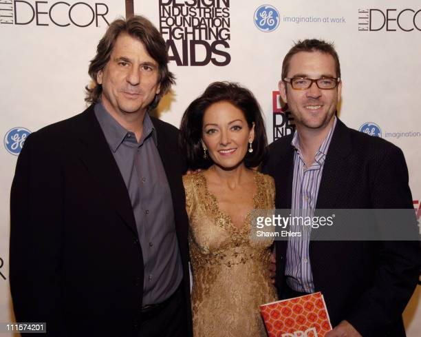 David Rockwell, Margaret Russell and Ted Allen during The 8th Annual Elle Decor Dining by Design Benefiting the Design Industries Foundation Fighting...