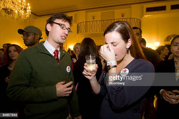 David Rodriguez speaks with Heather Harmon as election results come in during the The New York Young Republican Club's electionnight celebration at...