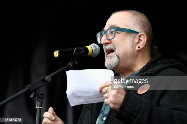 David Rosenberg JSG seen speaking during an anti racist rally Antiracists gathered at Park Lane and marched through central London before gathering...