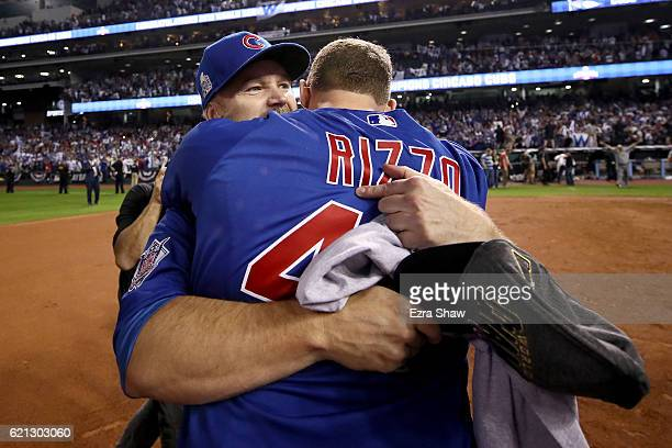 David Ross and Anthony Rizzo of the Chicago Cubs celebrate after defeating the Cleveland Indians 87 in Game Seven of the 2016 World Series at...