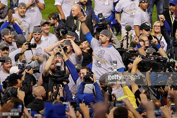 David Ross of the Chicago Cubs celebrates after defeating the Cleveland Indians 87 in Game Seven of the 2016 World Series at Progressive Field on...