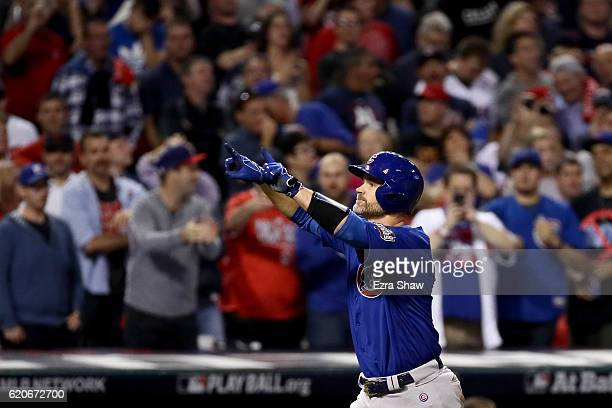 David Ross of the Chicago Cubs celebrates after hitting a solo home run during the sixth inning against the Cleveland Indians in Game Seven of the...