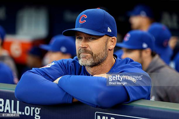 David Ross of the Chicago Cubs from the dugout prior to Game 3 of NLDS against the San Francisco Giants at ATT Park on Monday October 10 2016 in San...