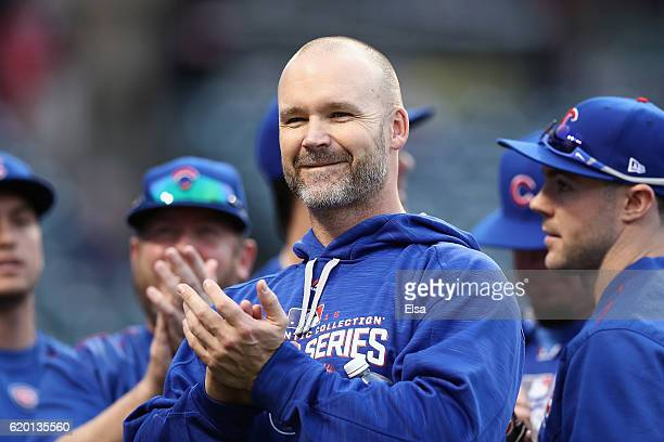 David Ross of the Chicago Cubs reacts during batting practice prior to Game Six of the 2016 World Series against the Cleveland Indians at Progressive...