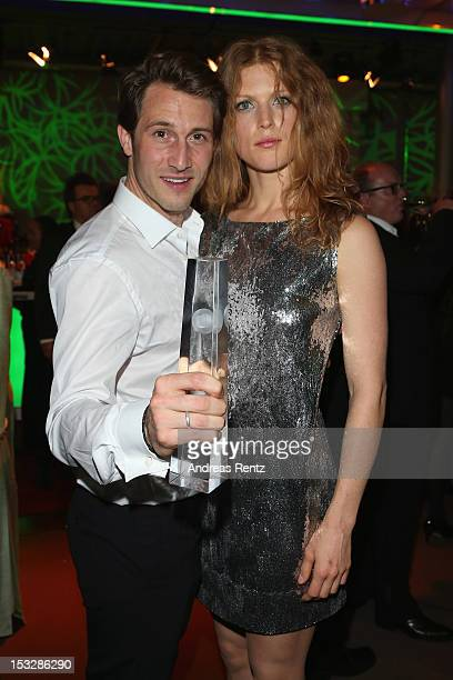 David Rott with his award and Elena Rott attend the German TV Award party 2012 at Coloneum on October 2 2012 in Cologne Germany