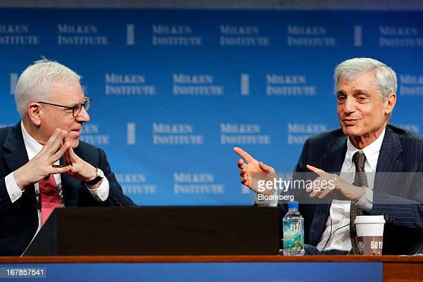 David Rubenstein cofounder and cochief executive officer at The Carlyle Group LP left talks with Robert Rubin cochairman at the Council of Foreign...