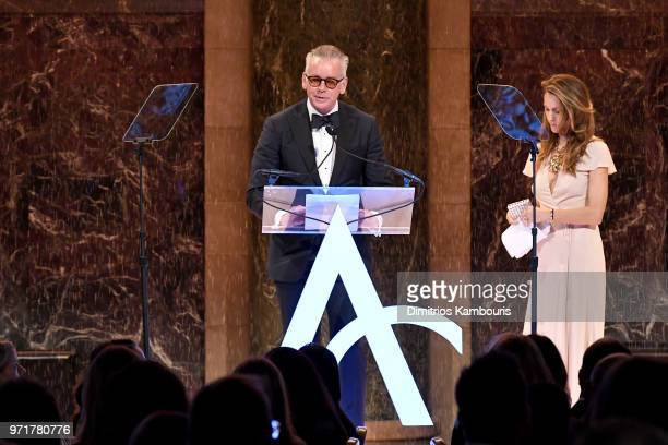 David Ruddick accepts the Retail Innovation Award from Cristina Cuomo onstage at the 22nd Annual Accessories Council ACE Awards at Cipriani 42nd...