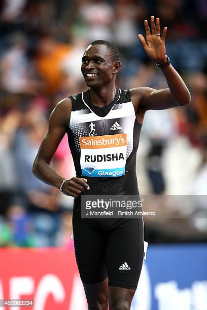 David Rudisha of Kenya celebrates after winning the Mens 800m during the IAAF Diamond League Day 2 at Hampden Park on July 12 2014 in Glasgow Scotland