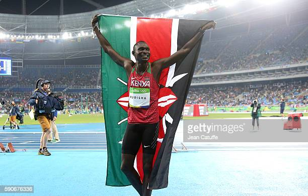 David Rudisha of Kenya celebrates winning the gold medal in the 800m final on day 10 of the Rio 2016 Olympic Games at Olympic Stadium on August 15...